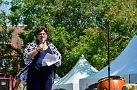 Fetes Gourmandes 2011, au Musee Pointe-a-Calliere.<br /> <br /> Montreal (Qc) CANADA - August 13, 2011 - Mary Deros, conseillère de la Ville du district de Parc-Extension depuis 1998 et présidente du conseil consultatif d'urbanisme de l'arrondissement  a précisé que ''La ville de  Montreal est fière de s'associer au Festival dans le cadre de sa 10ième édition'' et que ''Si Montréal est devenu une métropole d'importance c'est grace aux centaine de festivals et d'événement qui se déroulent annuellement à Montréal''
