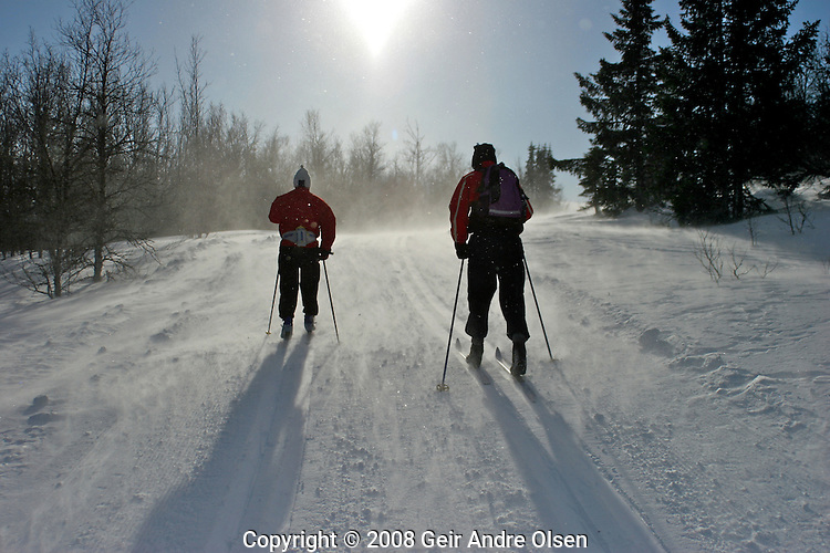 2 skiiers running up a small hill in a snowstorm at Ringebu, Norway.