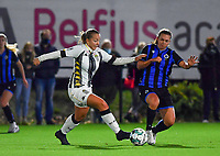 midfielder Megane Vos of Sporting Charleroi pictured in a duel with Brugge's Jody Vangheluwe during a female soccer game between Sporting Charleroi and Club Brugge YLA on the fourth matchday of the 2020 - 2021 season of Belgian Scooore Womens Super League , friday 9 nd of October 2020  in Marcinelle , Belgium . PHOTO SPORTPIX.BE | SPP | DAVID CATRY