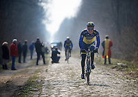 Paris-Roubaix 2013 RECON at Bois de Wallers-Arenberg..Nicolas Roche (IRL)