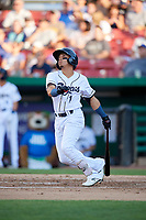 Kane County Cougars second baseman Jancarlos Cintron (1) follows through on a swing during a game against the West Michigan Whitecaps on July 19, 2018 at Northwestern Medicine Field in Geneva, Illinois.  Kane County defeated West Michigan 8-5.  (Mike Janes/Four Seam Images)