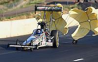 Jul. 20, 2013; Morrison, CO, USA: NHRA top fuel dragster driver Brittany Force during qualifying for the Mile High Nationals at Bandimere Speedway. Mandatory Credit: Mark J. Rebilas-