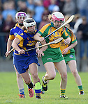 Niki Kaiser of Newmarket in action against Clare Hehir of Inagh-Kilnamona during their senior county final in Clarecastle. Photograph by John Kelly.