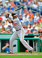 24 May 2009: Baltimore Orioles' center fielder Adam Jones in action against the Washington Nationals at Nationals Park in Washington, DC. The Nationals rallied to defeat the Orioles 8-5 and salvage a win in their interleague series. Mandatory Credit: Ed Wolfstein Photo