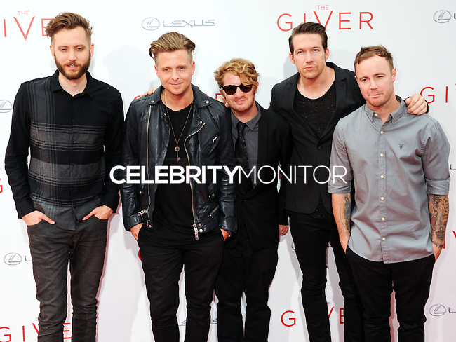NEW YORK CITY, NY, USA - AUGUST 11: Brent Kutzle, Ryan Tedder, Drew Brown, Zach Filkins and Eddie Fisher of OneRepublic arrive at the New York Premiere Of The Weinstein Company's 'The Giver' held at the Ziegfeld Theatre on August 11, 2014 in New York City, New York, United States. (Photo by Celebrity Monitor)