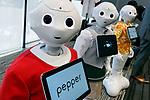 SoftBank's humanoid robots Pepper on display during SoftBank Robot World 2017 on November 21, 2017, Tokyo, Japan. SoftBank Robotics organized SoftBank Robot World 2017 to introduce AI (Artificial Intelligence) and IoT (the Internet of Things) companies developing the latest technology for robots, including applications its humanoid robot Pepper in various business fields. The robot expo runs until November 22. (Photo by Rodrigo Reyes Marin/AFLO)