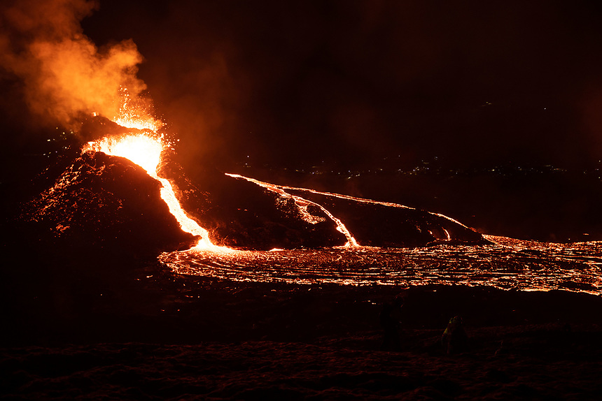 A volcanic eruption in the Reykjanes peninsula started on 19 march 2021. The eruption in the area of Geldingadalir is considered small but some geologists are predicting it might be active for months or years to come. It takes around 90 minutes to to hike to the eruption from the road and since erupting people have been sightseeing.