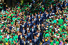 September 18, 2021; The Notre Dame football team walks to the stadium before the game against the Purdue Boilermakers. (photo by Matt Cashore/University of Notre Dame)