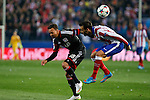 Atletico de Madrid´s Jesus Gamez (R) and Bayer 04 Leverkusen´s Bellarabi during the UEFA Champions League round of 16 second leg match between Atletico de Madrid and Bayer 04 Leverkusen at Vicente Calderon stadium in Madrid, Spain. March 17, 2015. (ALTERPHOTOS/Victor Blanco)