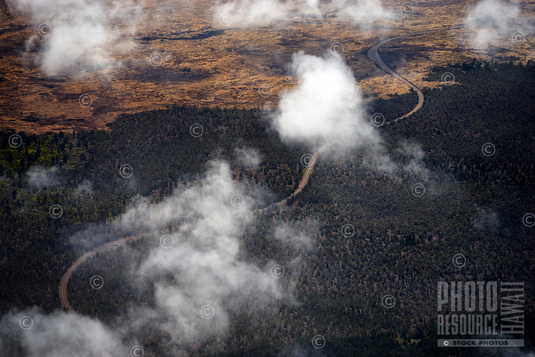 An aerial view of the Chain of Craters Road in Hawai'i Volcanoes National Park, Hawai'i Island.