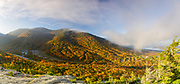 Panoramic of Cannon Mountain from Bald Mountain in the White Mountains, New Hampshire USA during the autumn months. This image consists of four images stitched together.