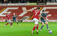 21st November 2020, Oakwell Stadium, Barnsley, Yorkshire, England; English Football League Championship Football, Barnsley FC versus Nottingham Forest; Callum Brittain of Barnsley assisting Cauley Woodrow of Barnsley goal on min 88 to make it 2-0