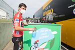 Red Jersey Primoz Roglic (SLO) Jumbo-Visma at the team bus before Stage 19 of La Vuelta d'Espana 2021, running 191.2km from Tapia de Casariego to Monforte de Lemos, Spain. 3rd September 2021.    <br /> Picture: Unipublic/Charly Lopez   Cyclefile<br /> <br /> All photos usage must carry mandatory copyright credit (© Cyclefile   Charly Lopez/Unipublic)
