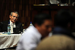 Former Guatemalan dictator, Efrain Rios Montt listens to testimony by witness Pedro Sous Cruz during the second day of his trial in the Supreme Court of Justice Guatemala CIty March 20, 2013.