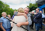Marguerite Lohan is hugged by Michael Flatley following the official opening of the All-Ireland Fleadh 2017 in Ennis. Photograph by John Kelly.