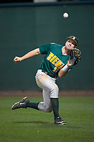 Siena Saints right fielder Fred Smart (32) catches a fly ball during a game against the Stetson Hatters on February 23, 2016 at Melching Field at Conrad Park in DeLand, Florida.  Stetson defeated Siena 5-3.  (Mike Janes/Four Seam Images)