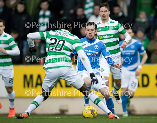 St Johnstone v Celtic…05.02.17     SPFL    McDiarmid Park<br />Danny Swanson is closed down by Dedryck Boyata<br />Picture by Graeme Hart.<br />Copyright Perthshire Picture Agency<br />Tel: 01738 623350  Mobile: 07990 594431