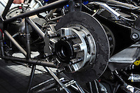 Mar. 10, 2012; Gainesville, FL, USA; Detailed view of the rear axle and brake rotor on the car of NHRA top fuel dragster driver T.J. Zizzo during qualifying for the Gatornationals at Auto Plus Raceway at Gainesville. Mandatory Credit: Mark J. Rebilas-