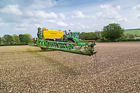 Spraying vining peas with herbicide - Lincolnshire Wolds, May