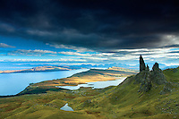 The Old Man of Storr and the Cuillin, Isle of Skye, Inner Hebrides, Highland