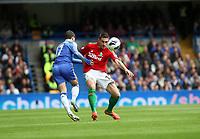Pictured: Angel Rangel tackles Hazard<br /> Barclays Premier League, Chelsea FC (blue) V Swansea City,<br /> 28/04/13
