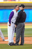 Winston-Salem Dash manager Tommy Thompson (39) argues a call with umpire Brian Peterson during the Carolina League game against the Salem Red Sox at BB&T Ballpark on April 20, 2014 in Winston-Salem, North Carolina.  The Dash defeated the Red Sox 10-8.  (Brian Westerholt/Four Seam Images)
