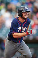 Lehigh Valley IronPigs first baseman Brock Stassi (10) runs to first during a game against the Buffalo Bisons on July 9, 2016 at Coca-Cola Field in Buffalo, New York.  Lehigh Valley defeated Buffalo 9-1 in a rain shortened game.  (Mike Janes/Four Seam Images)