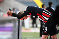 16th May 2020, Commerzbank-Arena, Frankfurt, Germany; Bundesliga football, Eintracht Frankfurt versus Borussia Moenchangladbach;  Bas Dost Eintracht Frankfurt exhausted and dissapointed for the loss after the end of the game