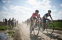 Tiesj Benoot (BEL/Lotto-Soudal) in the drops next to John Gadret (FRA/Movistar) on sector 14: Tilloy à Sars-et-Rosières (2.4km)<br /> <br /> 113th Paris-Roubaix 2015