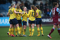 Lia Walti of Arsenal scores the second goal for her team and celebrates with her team mates during West Ham United Women vs Arsenal Women, Women's FA Cup Football at Rush Green Stadium on 26th January 2020