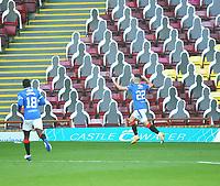 27th September 2020; Fir Park, Motherwell, North Lanarkshire, Scotland; Scottish Premiership Football, Motherwell versus Rangers; Jordan Jones of Rangers celebrates making it 2-0 in the 28th minute