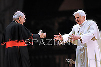 Pope Benedict XVI Cardinal Agostino Vallini;addresses some 70,000 youths of dioceses of Rome and Lazio in Saint Peter's square, at the Vatican, late 25 March 2010, during an event to mark the 25th anniversary of the first Youth World Day.