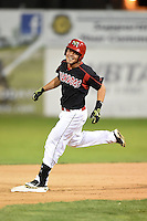 Batavia Muckdogs outfielder Victor Castro (40) touches second after a walk off hit during a game against the Brooklyn Cyclones on August 11, 2014 at Dwyer Stadium in Batavia, New York.  Batavia defeated Brooklyn 4-3.  (Mike Janes/Four Seam Images)