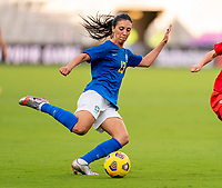 ORLANDO, FL - FEBRUARY 24: Julia #13 of Brazil passes the ball during a game between Brazil and Canada at Exploria Stadium on February 24, 2021 in Orlando, Florida.