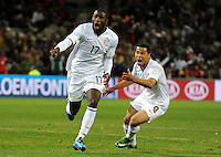 Jozy Altidore of USA celebrates scoring the opening goal with team-mate Charlie Davies. USA vs Spain during the FIFA Confederations Cup at Free State Stadium in Manguang/Bloemfontein, South Africa on June 24, 2009..