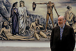 Bernard Buffet French artist expressionist painter (1928-1999) France Circa 1995. With the painting 'L'homme a la Tete Coupee'. Kassal Germany 1994.