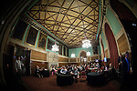 © Joel Goodman - 07973 332324 . 23/06/2016 . Manchester , UK . Campaigners watching the results come in on TV screens in the Mayor's Parlour , at the declaration in the EU referendum at Manchester Town Hall . Photo credit : Joel Goodman