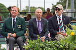 2015 Inductee, David Hall (AUS), center, listens to coach, Rich Berman.  2015 Induction Ceremony at the International Tennis Hall of Fame, Newport, RI USA.  The ceremony took place on July 18, 2015