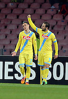 Thursday 27 February 2014<br /> Pictured: Gonzalo Higuain of Napoli (R) celebrating his goal making the score 2-1 to Napoli<br /> Re: UEFA Europa League, SSC Napoli v Swansea City FC at Stadio San Paolo, Naples, Italy.