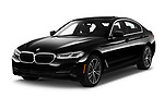 2021 BMW 5-Series 530e-Sport 4 Door Sedan Angular Front automotive stock photos of front three quarter view
