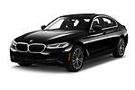 2021 BMW 5-Series 530e-Sport 4 Door Sedan Angular Front automotive stock photos of front three quarter view