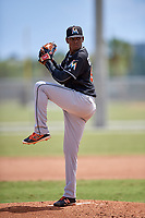 Miami Marlins starting pitcher Edward Cabrera (92) delivers a pitch during a minor league Spring Training game against the New York Mets on March 26, 2017 at the Roger Dean Stadium Complex in Jupiter, Florida.  (Mike Janes/Four Seam Images)