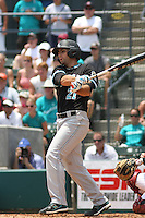 The Coastal Carolina University Chanticleers First Baseman Rich Witten #21 at bat during the 2nd and deciding game of the NCAA Super Regional vs. the University of South Carolina Gamecocks on June 13, 2010 at BB&T Coastal Field in Myrtle Beach, SC.  The Gamecocks defeated Coastal Carolina 10-9 to advance to the 2010 NCAA College World Series in Omaha, Nebraska. Photo By Robert Gurganus/Four Seam Images