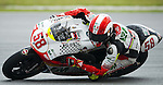 KUALA LUMPUR, MALAYSIA - OCTOBER 24:  Metis Gilera rider Marco Simoncelli of Italy steers his 250cc bike during free practice for the Malaysian MotoGP, which is round 16 of the MotoGP World Championship at the Sepang Circuit on October 24, 2009 in Kuala Lumpur, Malaysia.  Photo by Victor Fraile / The Power of Sport Images
