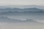 Italien, Piemont, Langhe, bei Alba: Landschaft im Morgennebel   Italy, Piedmont, Langhe, near Alba: hazy landscape