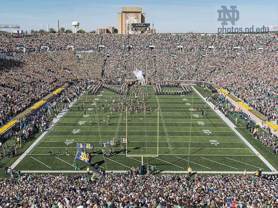Oct. 10, 2015; The Notre Dame Marching Band performs before the game against Navy at Notre Dame Stadium. (Photo by Barbara Johnston/University of Notre Dame)
