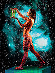 metaphoric composite photo illustration with icons of health including female figure holding hourglass, printed circuitry and deep space imagery