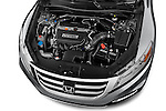 Car Stock 2015 Honda Crosstour EX 4 Door Hatchback Engine high angle detail view