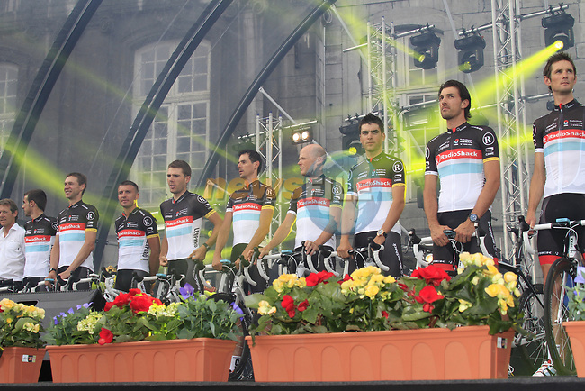 Radioshack-Nissan team members on stage at the Team Presentation Ceremony before the 2012 Tour de France in front of The Palais Provincial, Place Saint-Lambert, Liege, Belgium. 28th June 2012.<br /> (Photo by Eoin Clarke/NEWSFILE)