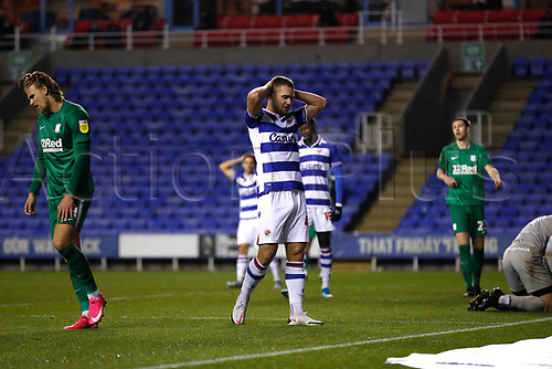 4th November 2020; Madejski Stadium, Reading, Berkshire, England; English Football League Championship Football, Reading versus Preston North End; George Puscas of Reading is disappointed after his header goes over the bar